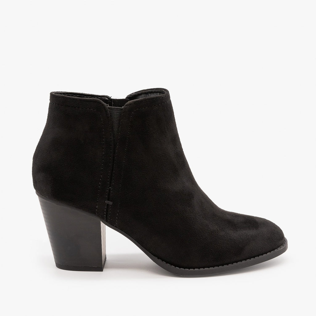 Womens Faux Suede Closed Toe Ankle Booties - City Classified Shoes - Black / 5