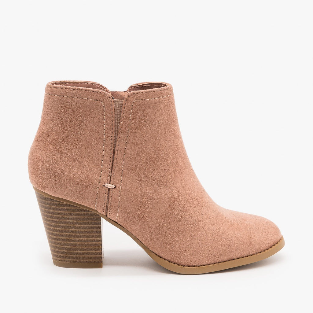 Womens Faux Suede Closed Toe Ankle Booties - City Classified Shoes - Light Cement / 5