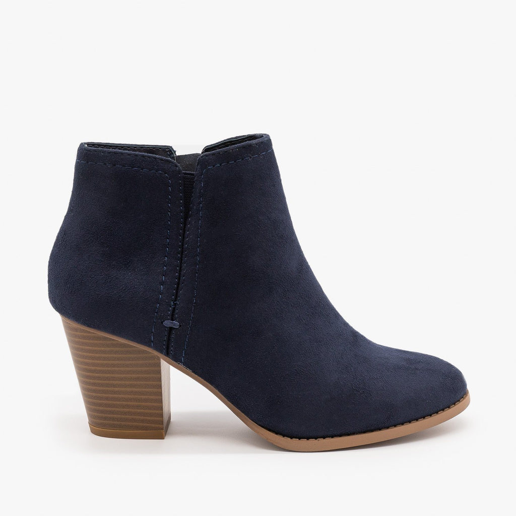 Womens Faux Suede Closed Toe Ankle Booties - City Classified Shoes - Dark Navy / 5