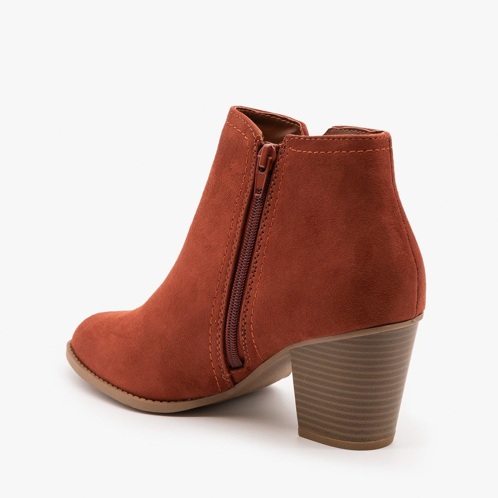Womens Faux Suede Closed Toe Ankle Booties - City Classified Shoes