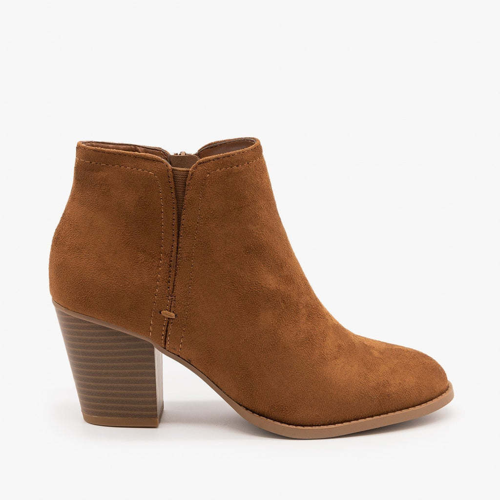Womens Faux Suede Closed Toe Ankle Booties - City Classified Shoes - Chestnut / 5