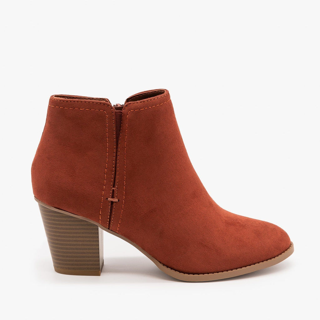 Womens Faux Suede Closed Toe Ankle Booties - City Classified Shoes - Dark Rust / 5