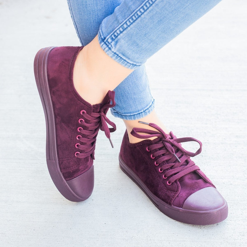 Womens Faux Suede Fashion Sneakers - Weeboo - Wine / 7.5