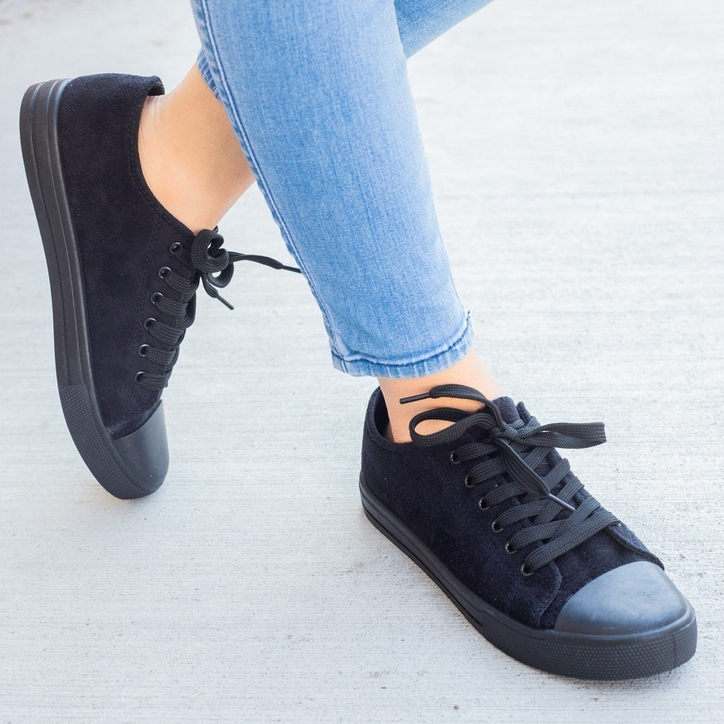 Womens Faux Suede Fashion Sneakers - Weeboo - Black / 5.5