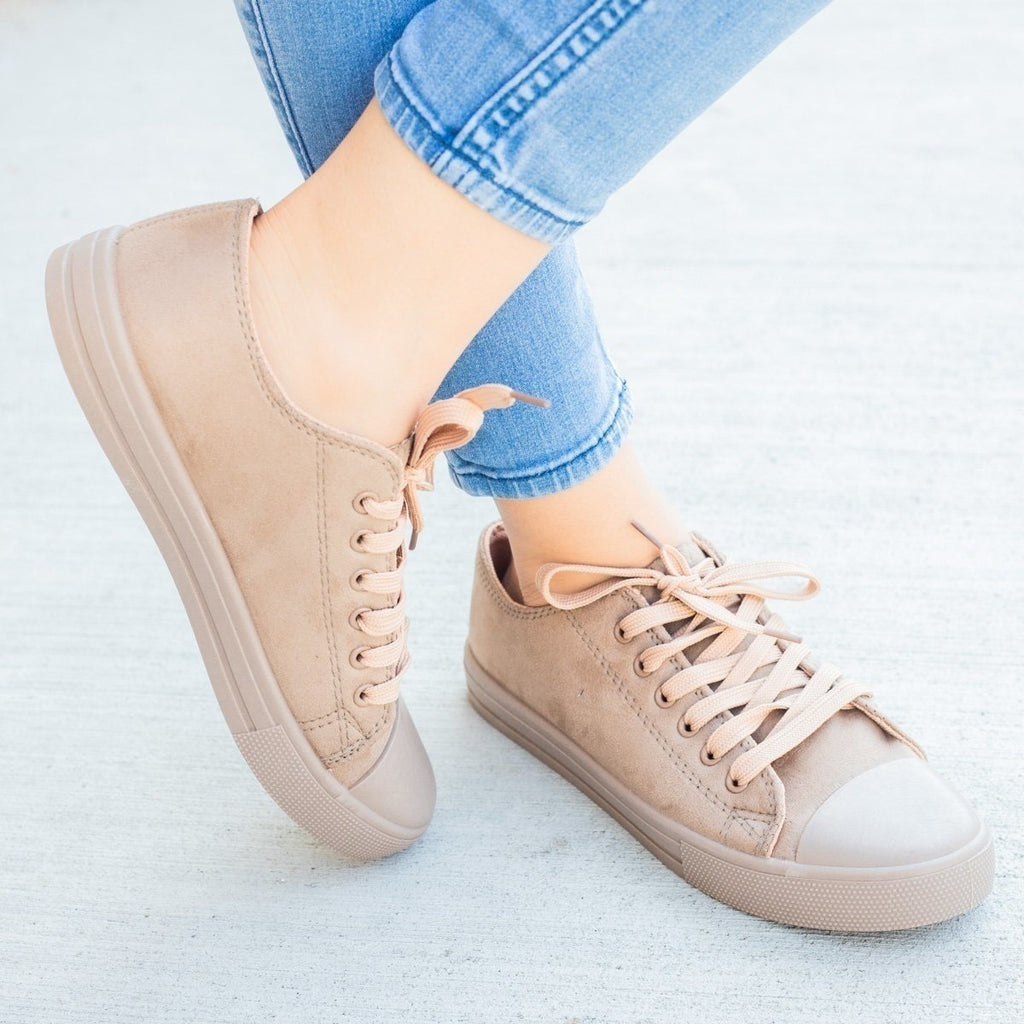 Womens Faux Suede Fashion Sneakers - Weeboo - Taupe / 5
