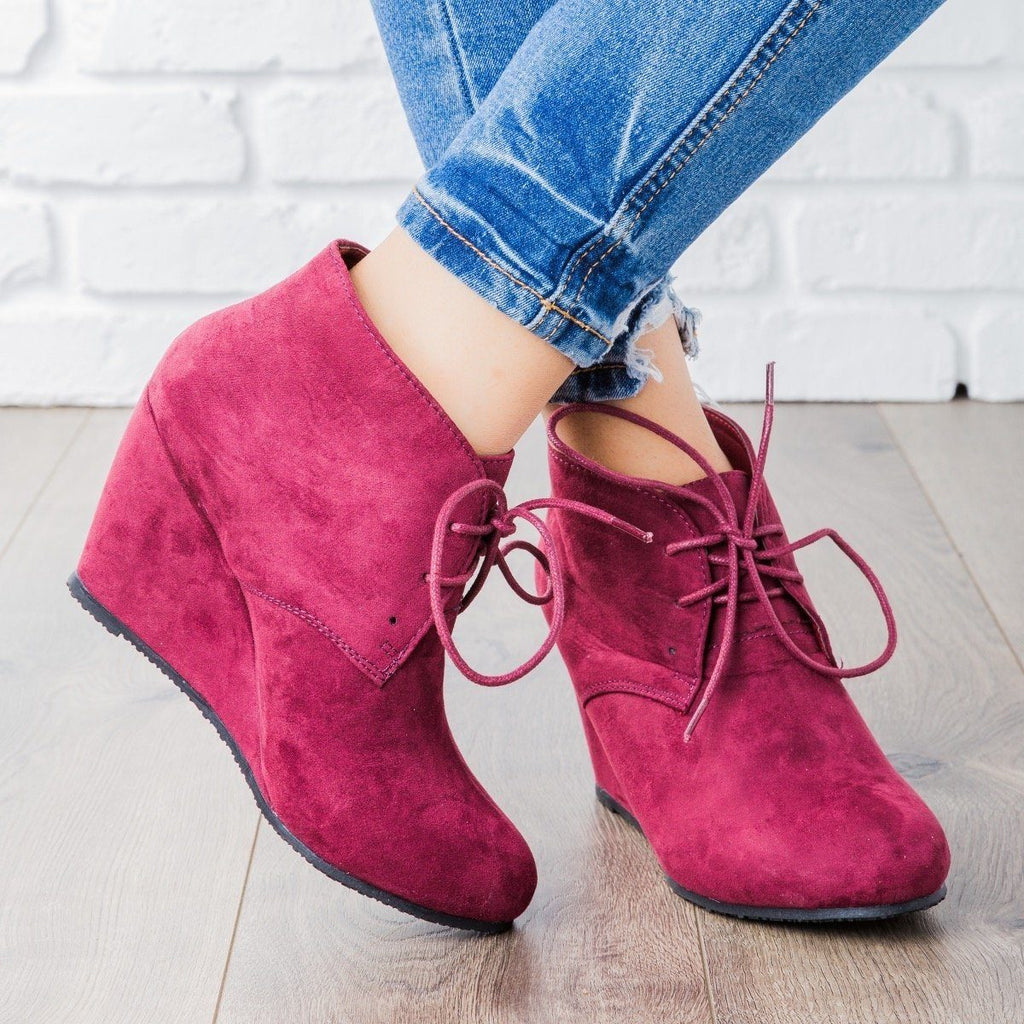 Womens Faux Suede Lace-up Bootie Wedges - Bella Marie - Wine / 5