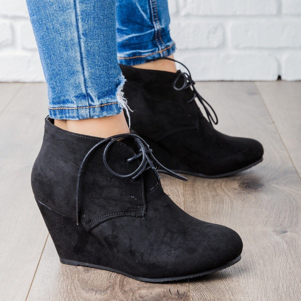 Womens Faux Suede Lace-up Bootie Wedges - Bella Marie - Black / 5