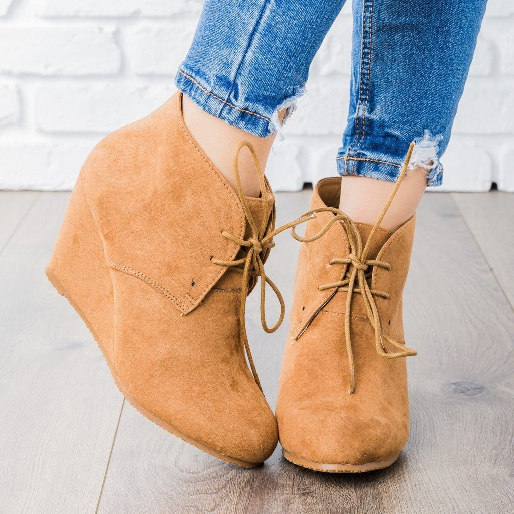 Womens Faux Suede Lace-up Bootie Wedges - Bella Marie - Camel / 5