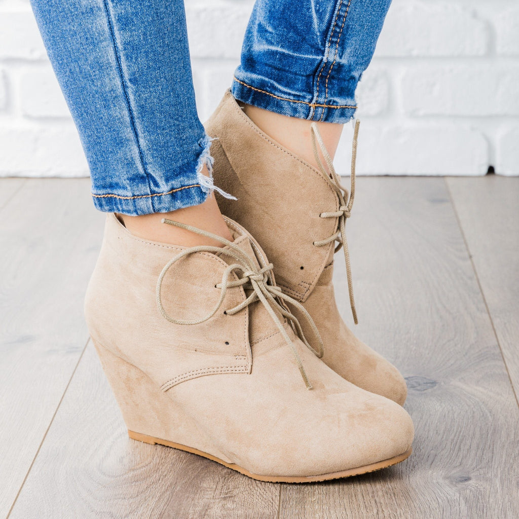 Womens Faux Suede Lace-up Bootie Wedges - Bella Marie - Taupe / 5