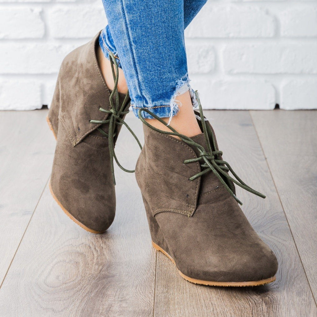 Womens Faux Suede Lace-up Bootie Wedges - Bella Marie
