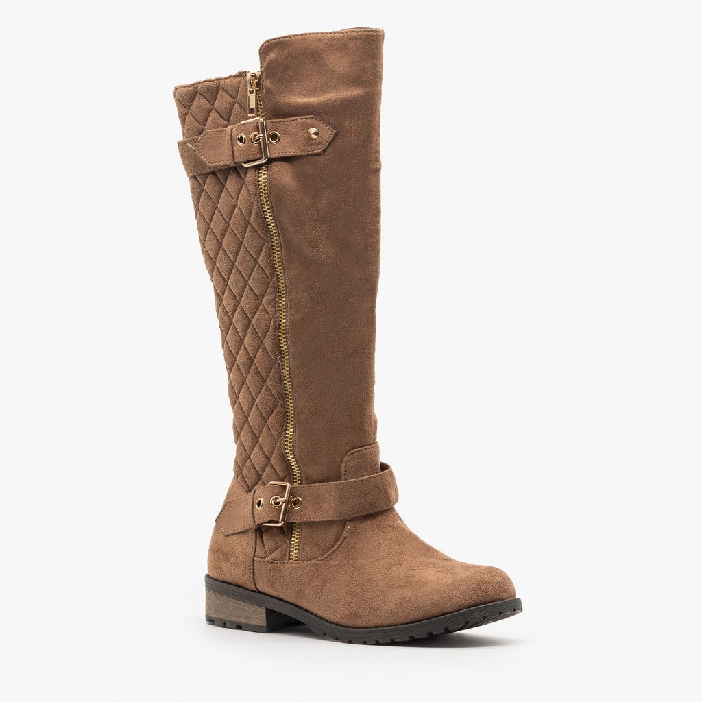 Womens Faux Suede Quilted Riding Boots - Forever