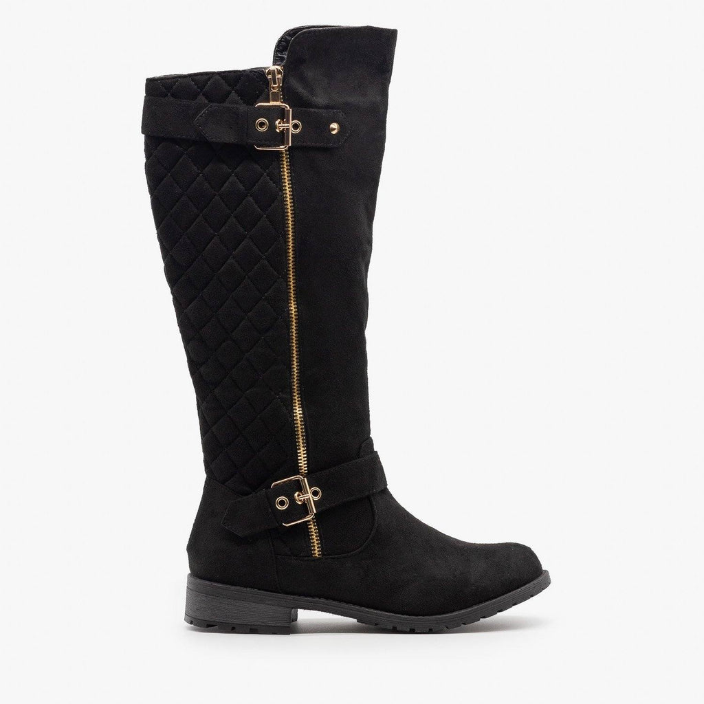 Womens Faux Suede Quilted Riding Boots - Forever - Black / 5