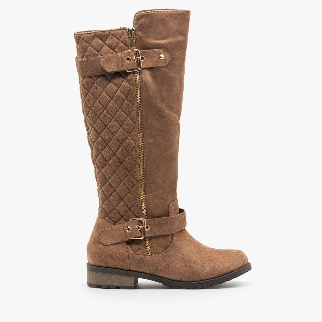 Womens Faux Suede Quilted Riding Boots - Forever - Taupe / 5