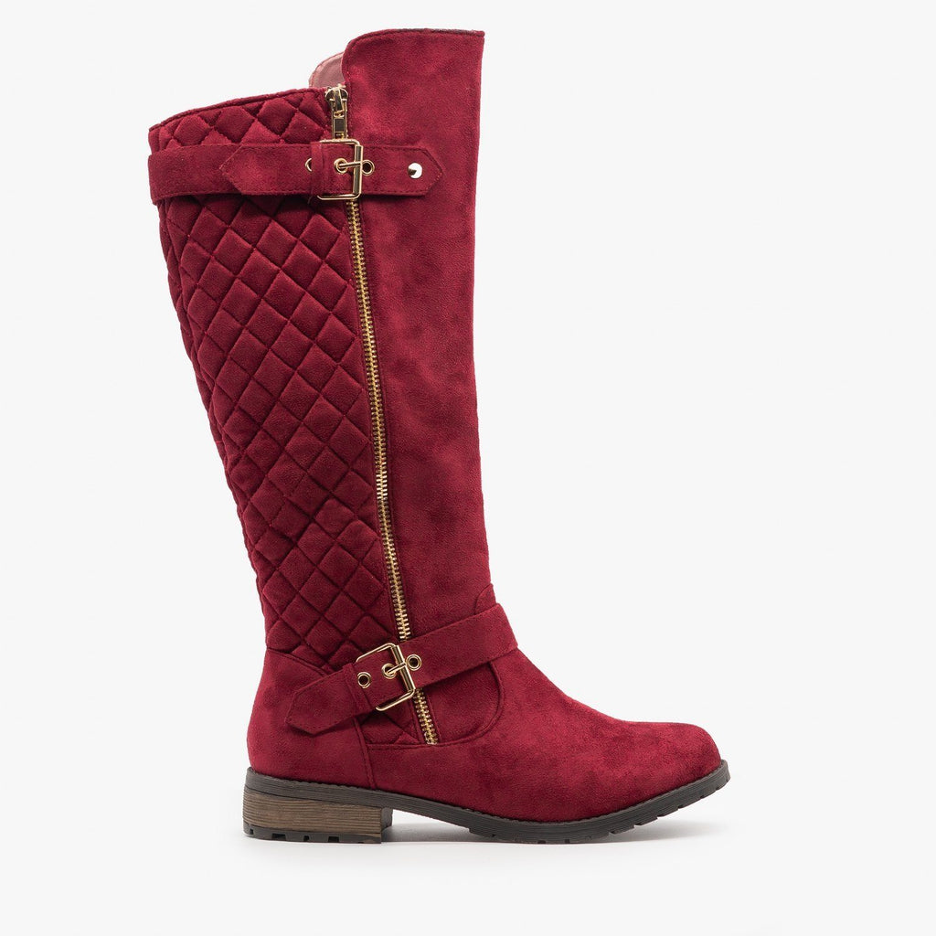 Womens Faux Suede Quilted Riding Boots - Forever - Burgundy / 5