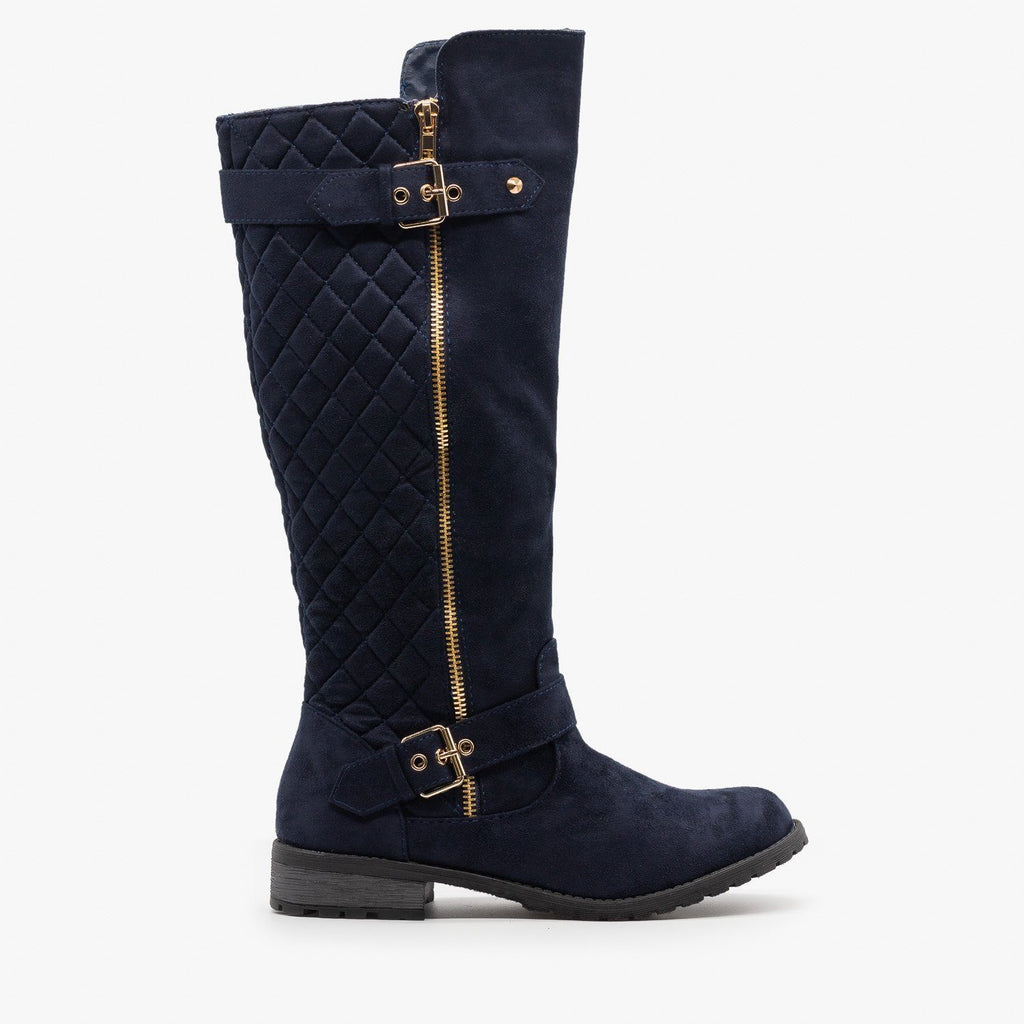 Womens Faux Suede Quilted Riding Boots - Forever - Navy / 5