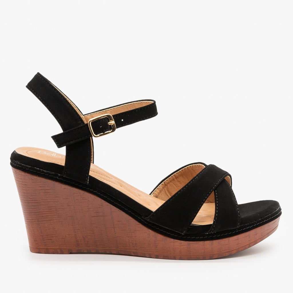 Womens Faux Wood Wedge Heel Sandals - Bella Marie - Black / 5