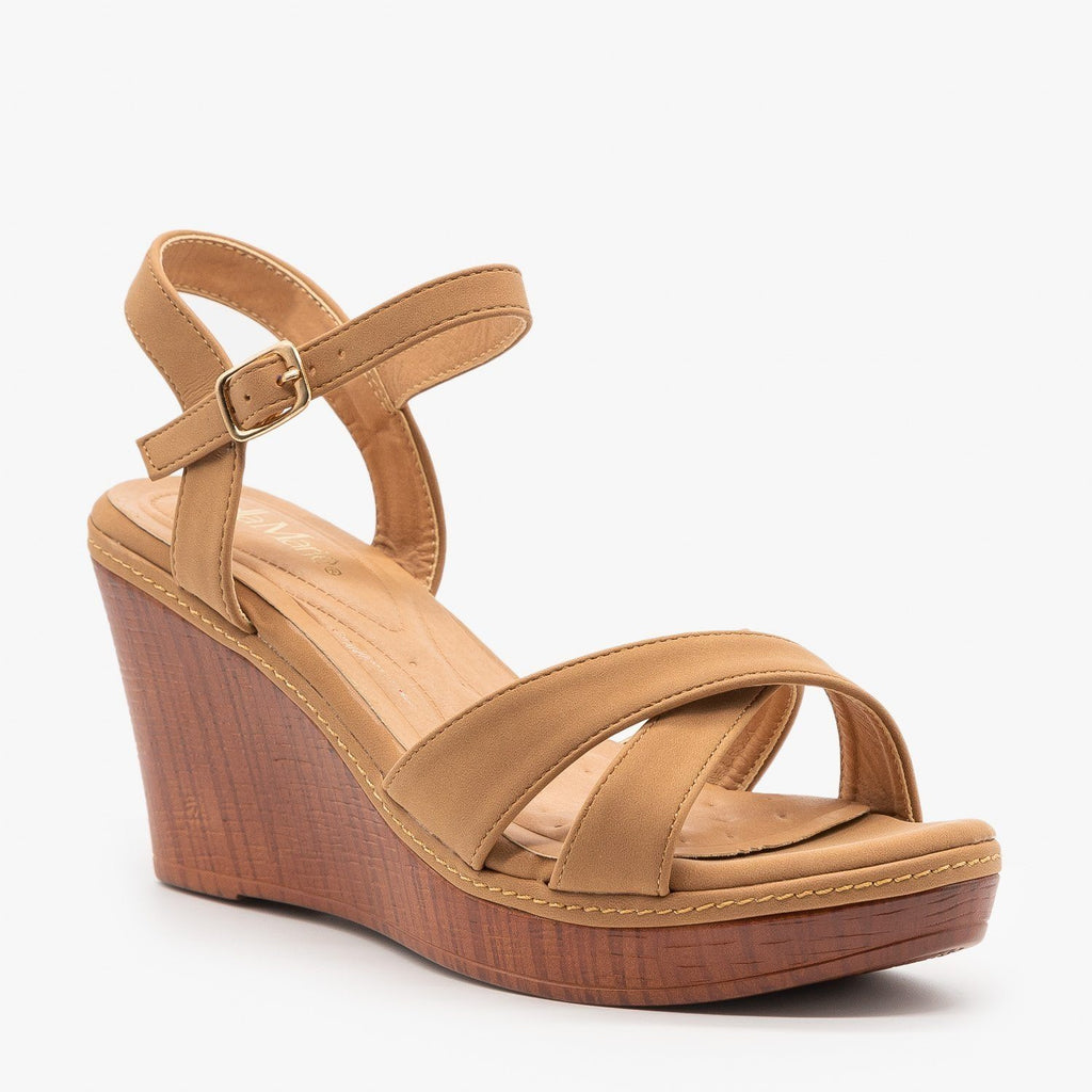 Womens Faux Wood Wedge Heel Sandals - Bella Marie