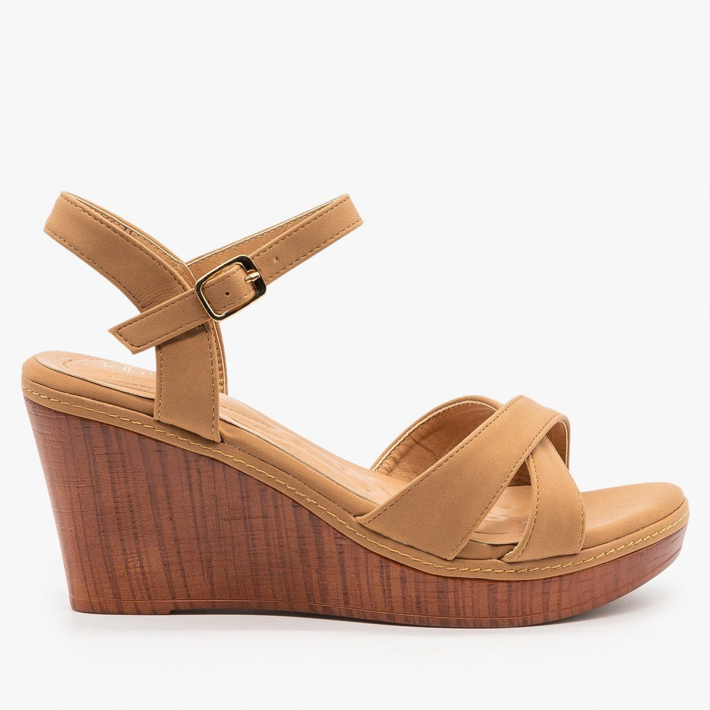 Womens Faux Wood Wedge Heel Sandals - Bella Marie - Tan / 5
