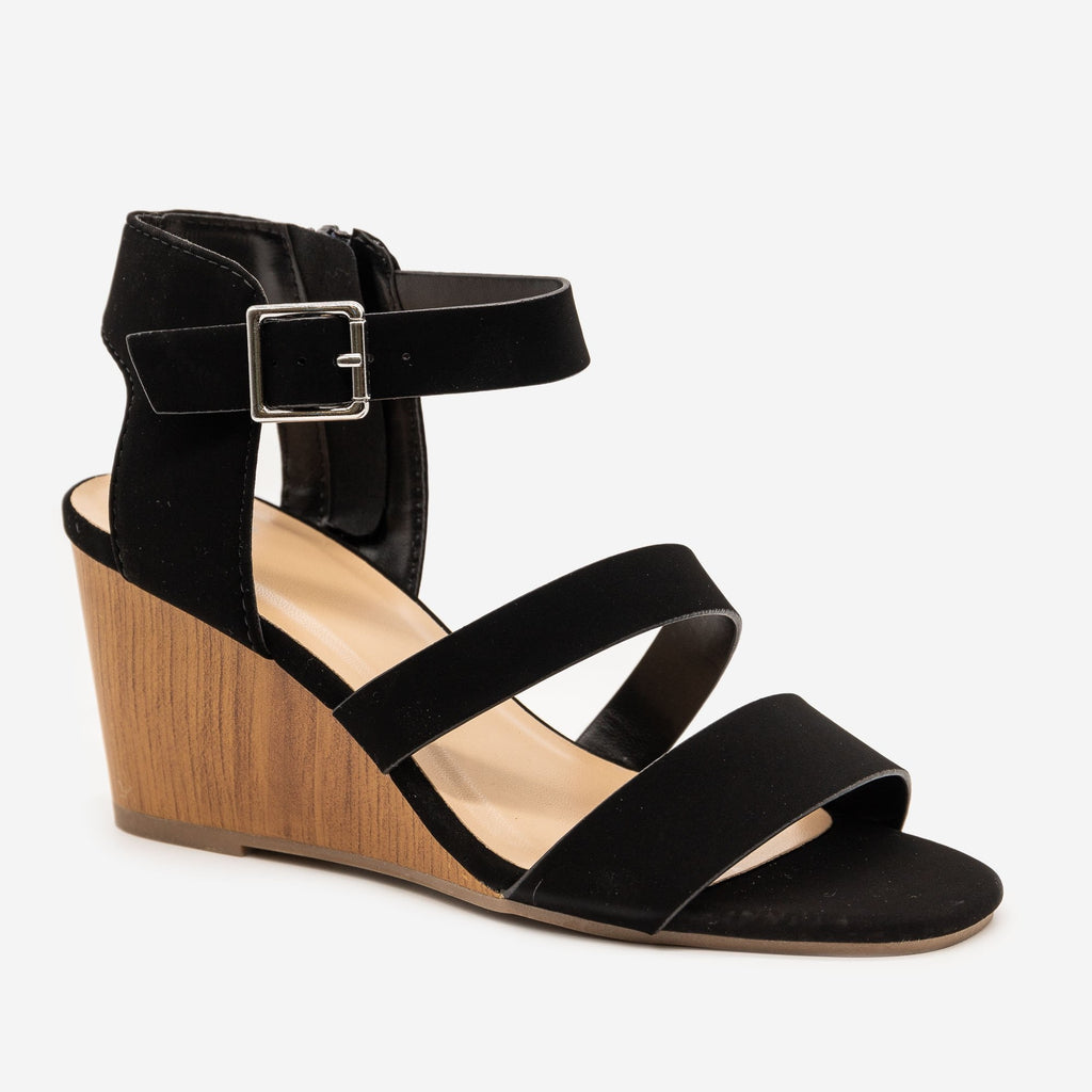 Women's Faux Wooden Sandal Wedges - Delicious Shoes