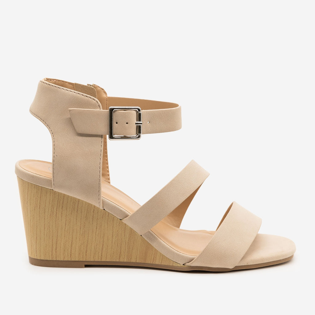 Women's Faux Wooden Sandal Wedges - Delicious Shoes - Nude / 5