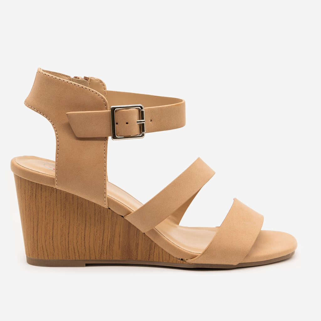 Women's Faux Wooden Sandal Wedges - Delicious Shoes - Sand / 5