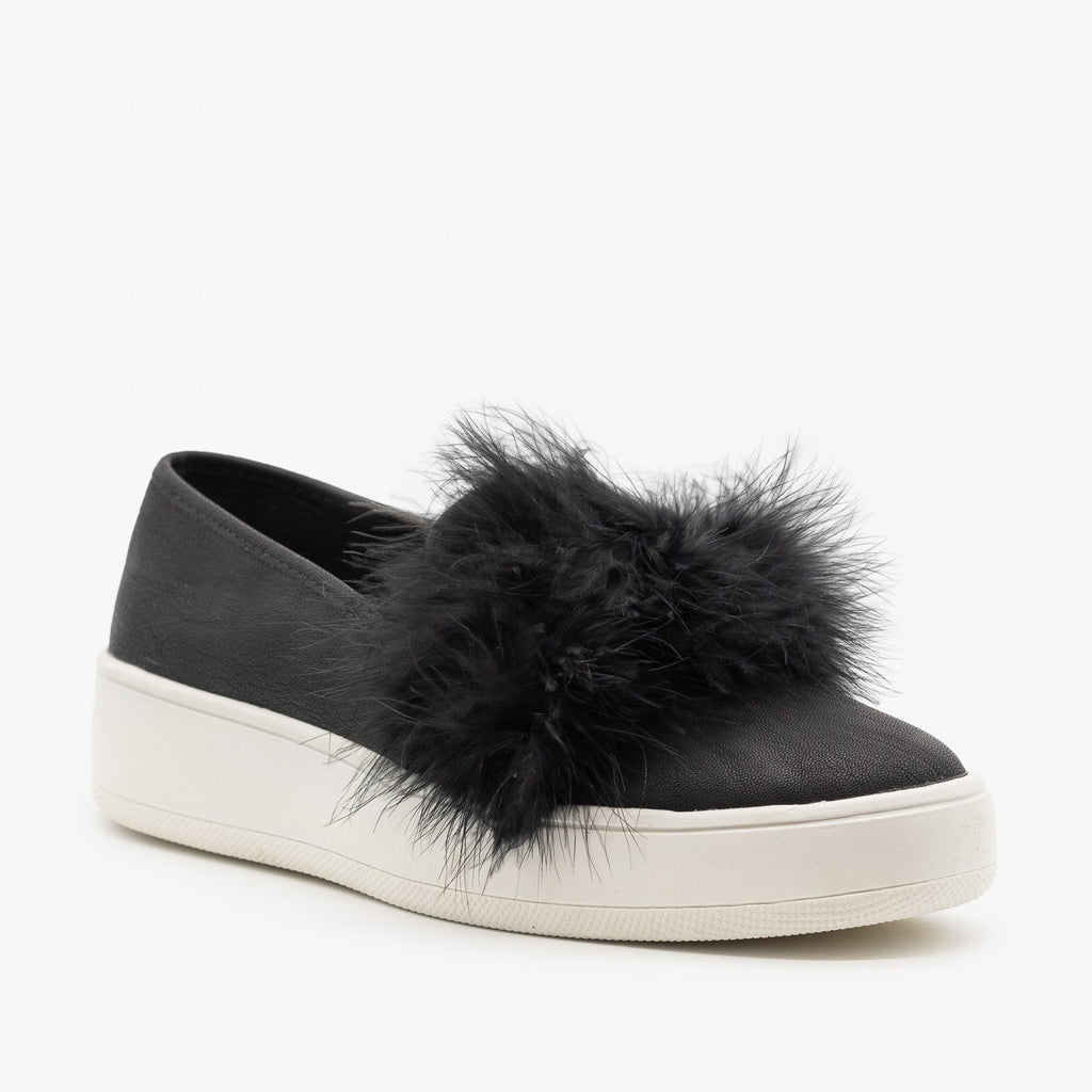 Womens Feather Boa Flatform Sneakers - Soda Shoes
