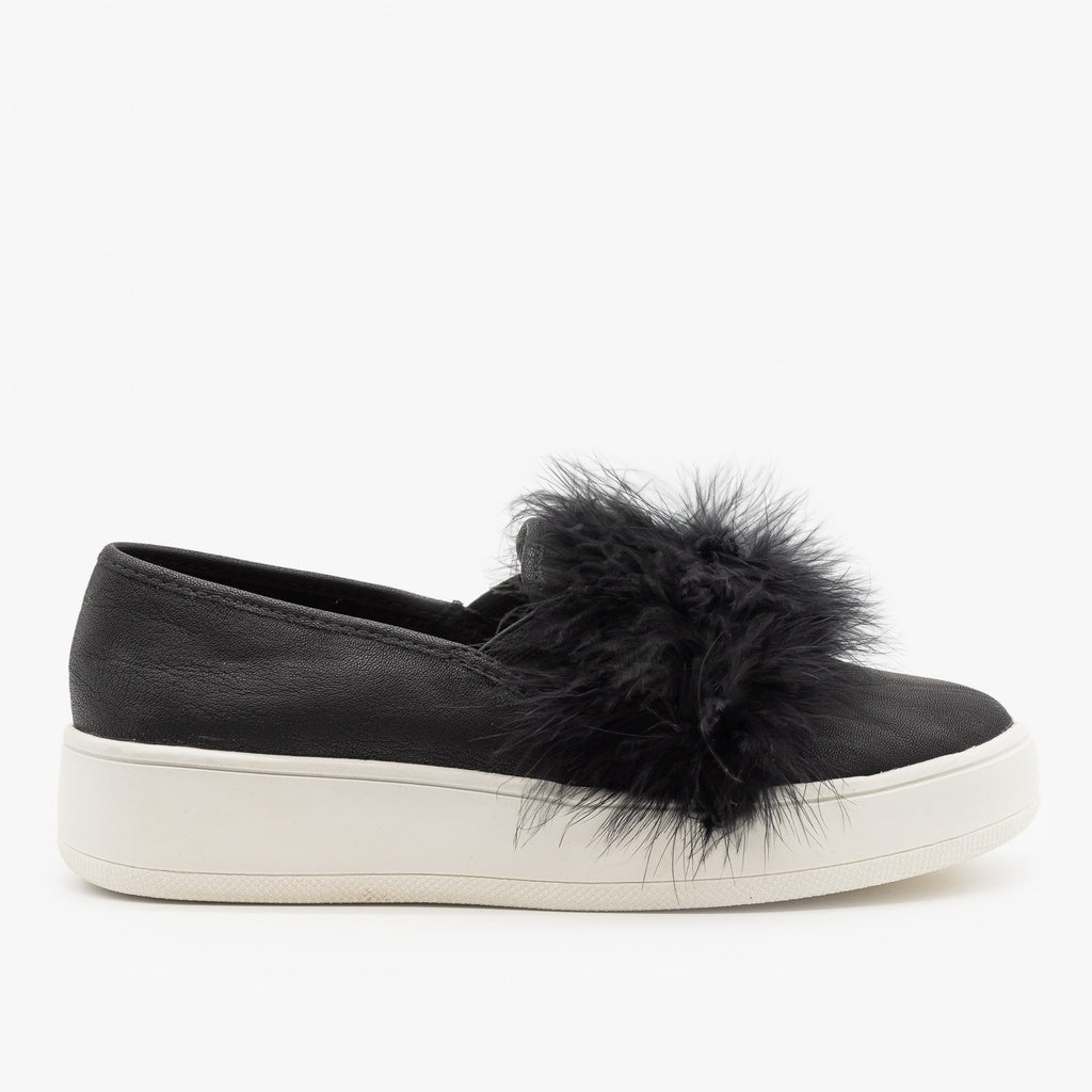Womens Feather Boa Flatform Sneakers - Soda Shoes - Black / 5