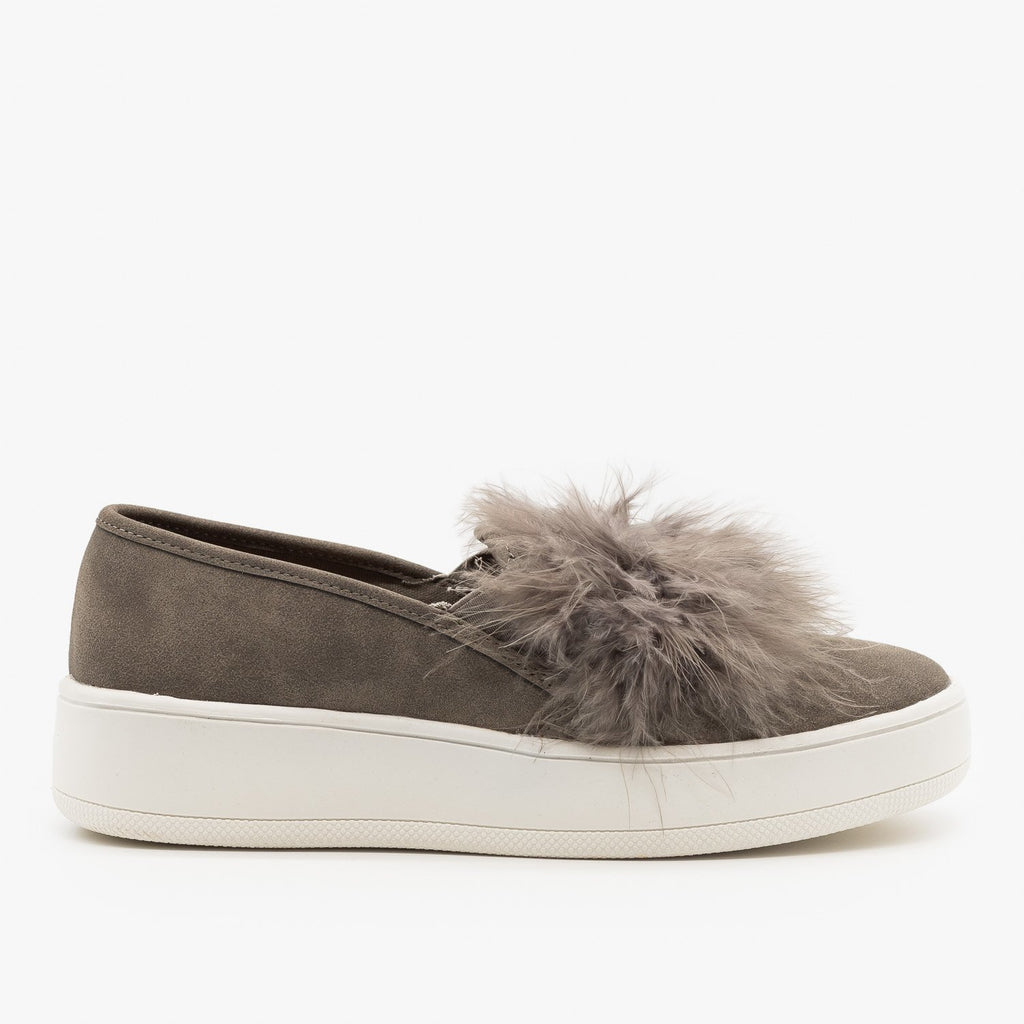 Womens Feather Boa Flatform Sneakers - Soda Shoes - Gray / 5