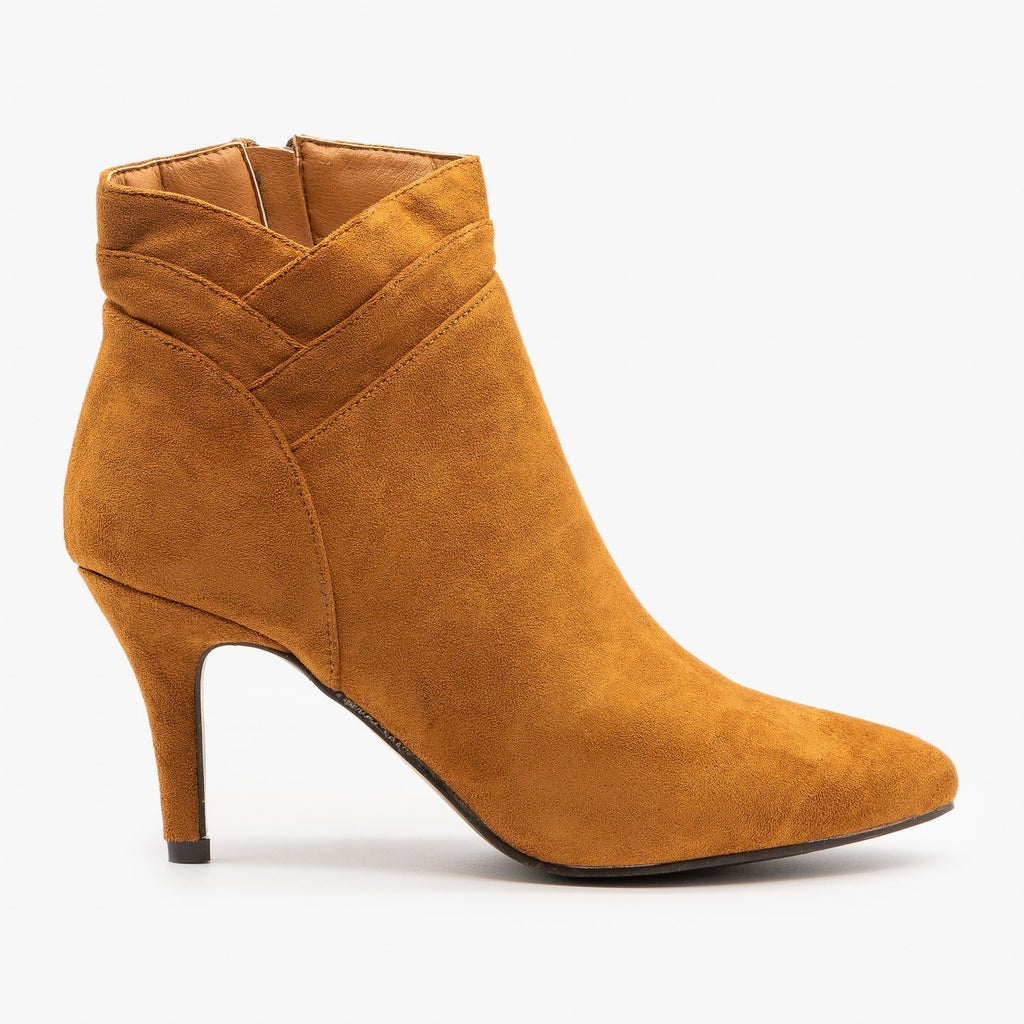 Womens Fishtail Side Stiletto Booties - Forever - Tan / 5