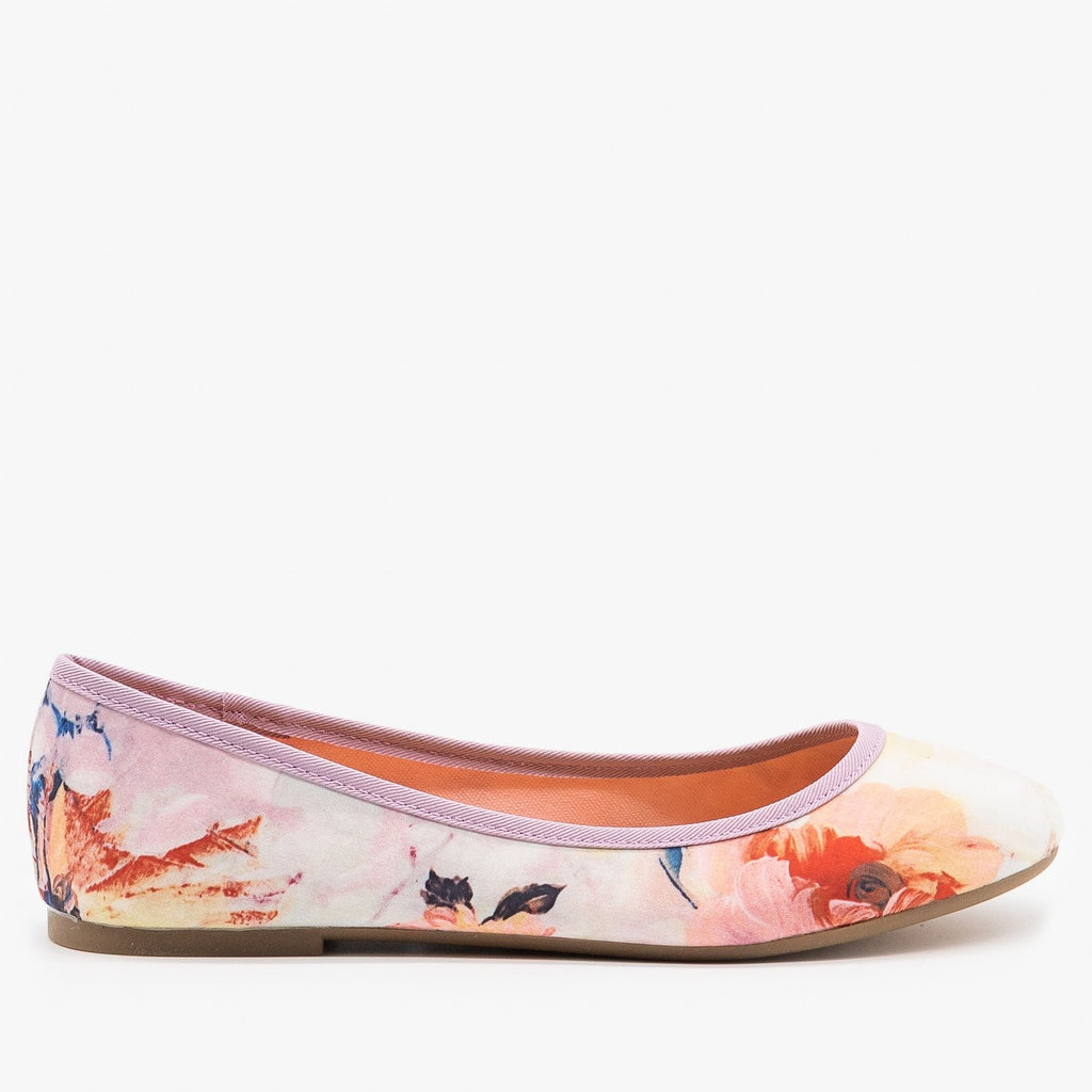 Womens Floral Ballet Flats - Bamboo Shoes - Floral Pastel / 5