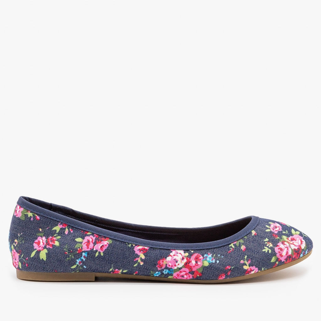 Womens Floral Ballet Flats - Bamboo Shoes - Blue Denim / 5