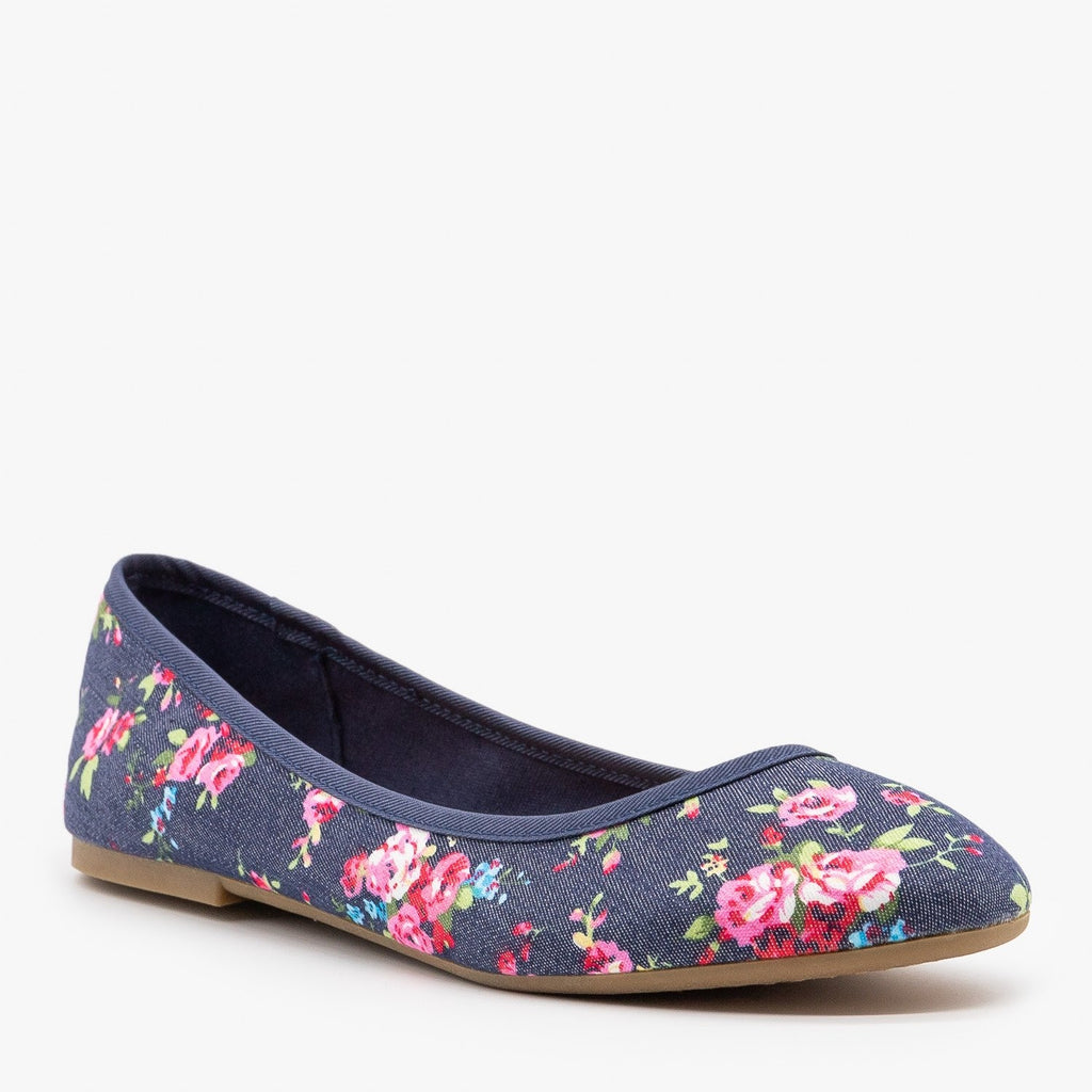 Womens Floral Ballet Flats - Bamboo Shoes