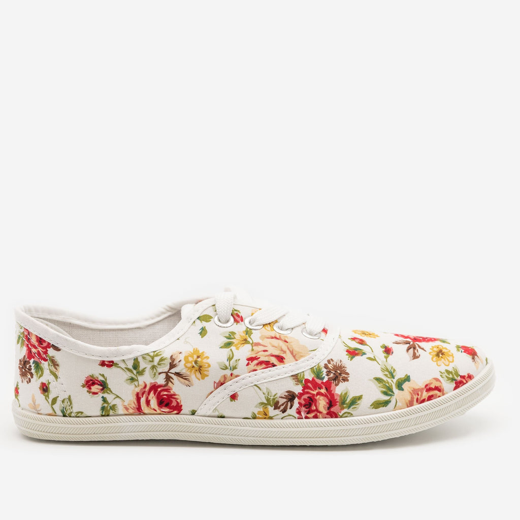 Women's Floral Canvas Sneakers - Refresh - White / 5
