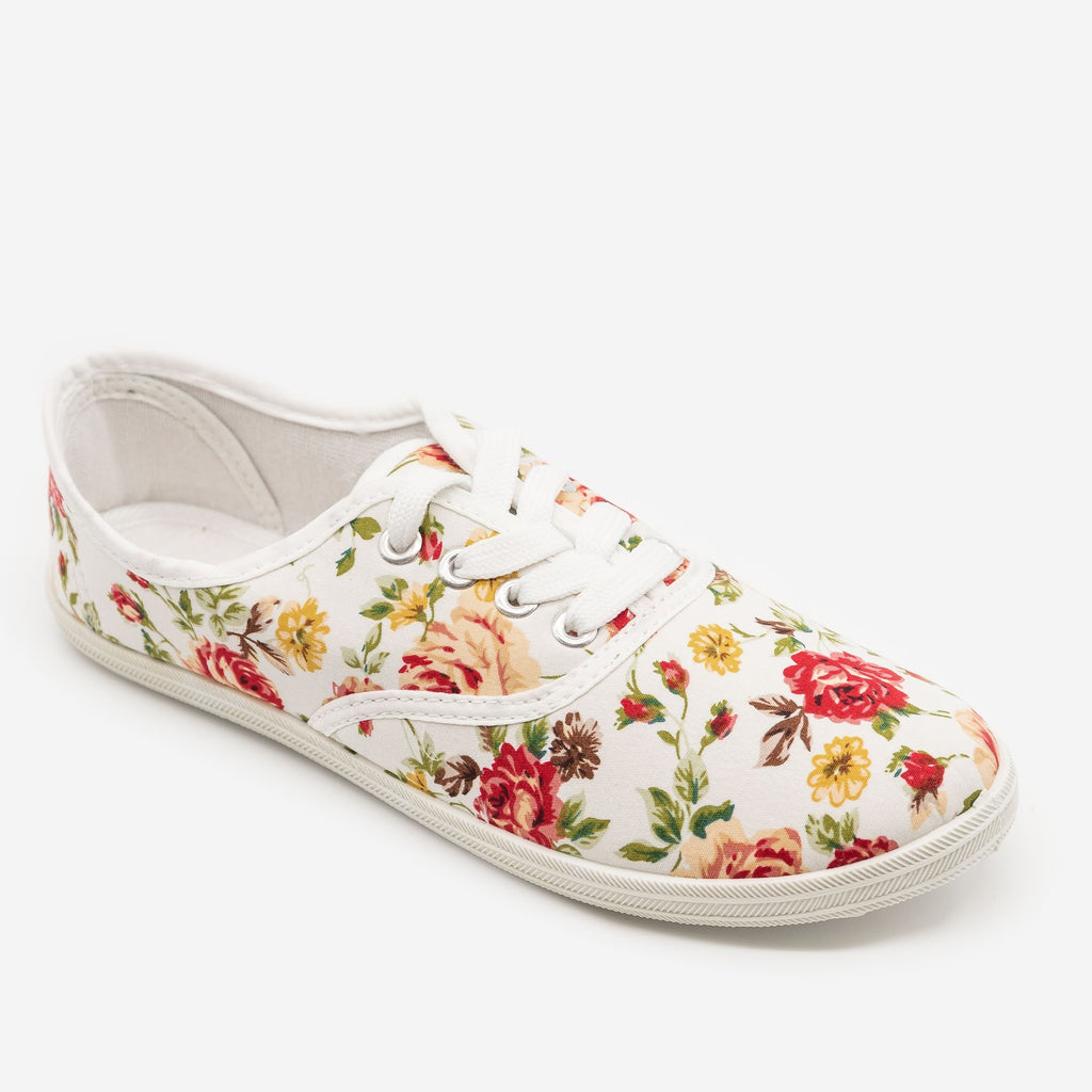 Floral Canvas Sneakers - Refresh Shoes