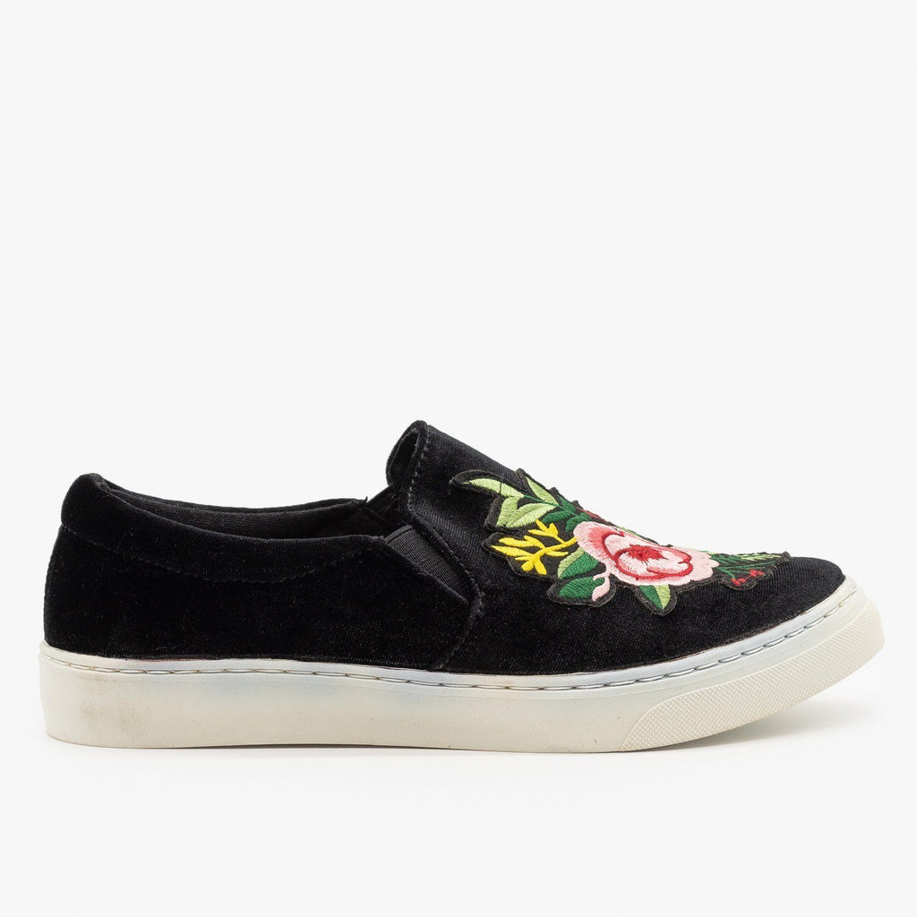 Womens Floral Decal Velvet Sneakers - Soda Shoes