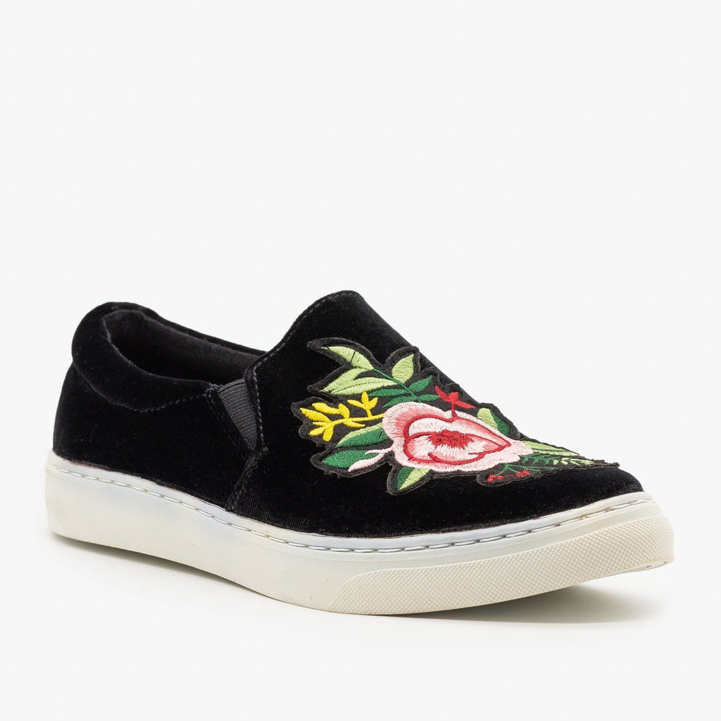 Womens Floral Decal Velvet Sneakers - Soda Shoes - Black Velvet / 5