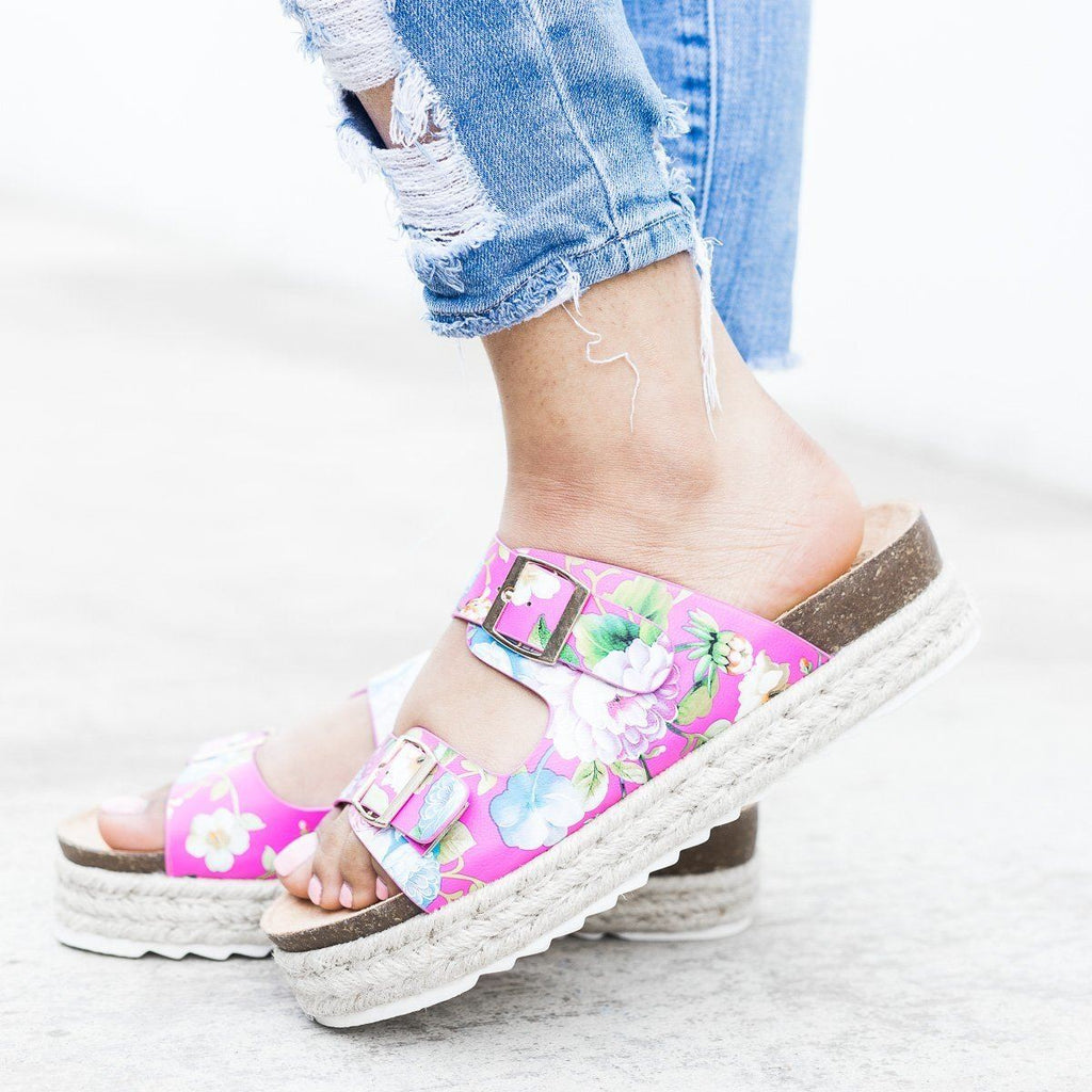 Womens Floral Espadrille Flatform Sandals - Nature Breeze