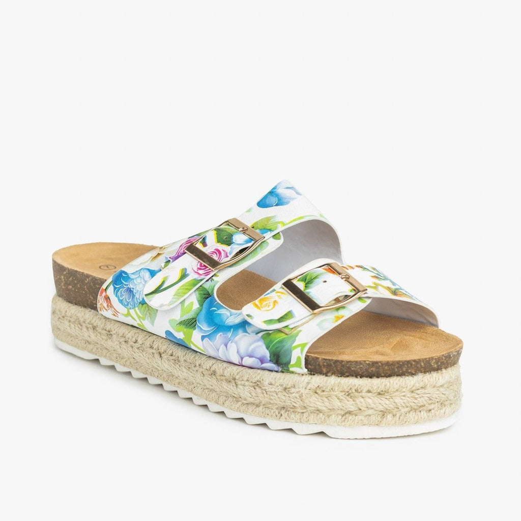Womens Floral Espadrille Flatform Sandals - Nature Breeze - White / 5