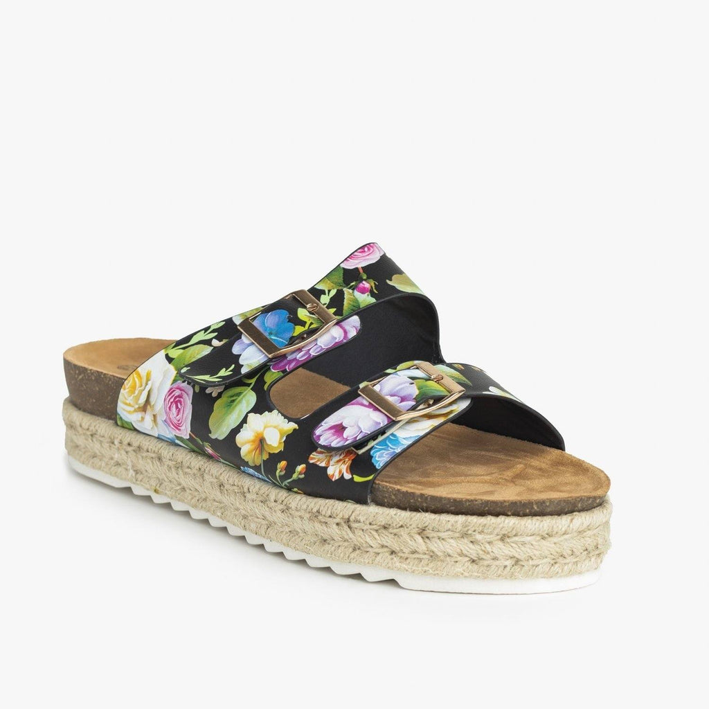 Womens Floral Espadrille Flatform Sandals - Nature Breeze - Black / 5