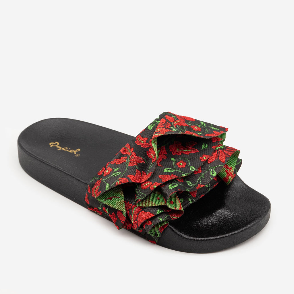 Women's Floral Ruffled Slides - Qupid Shoes