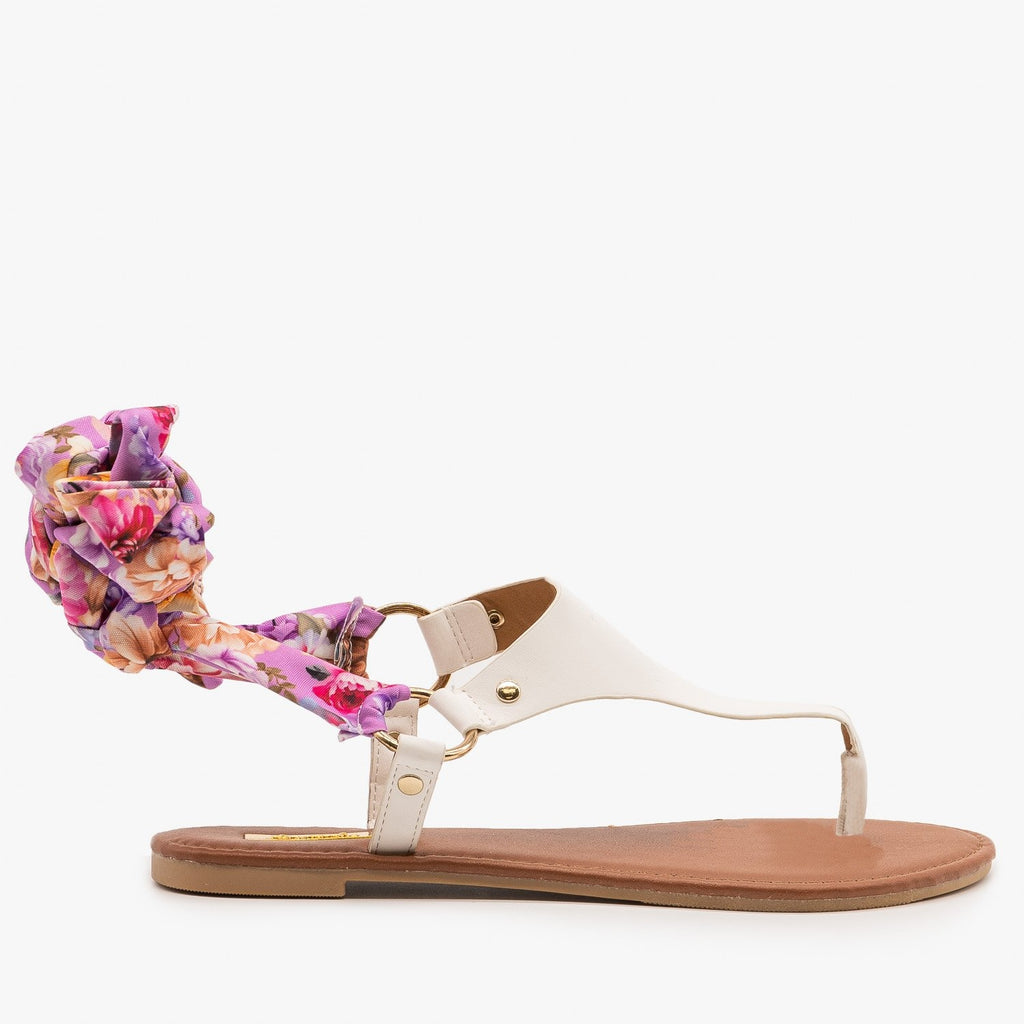 Womens Floral Tie-Up Sandals - Qupid Shoes - White / 5