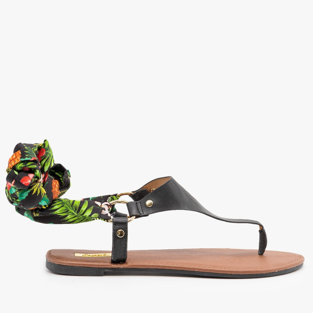 Womens Floral Tie-Up Sandals - Qupid Shoes - Black / 5
