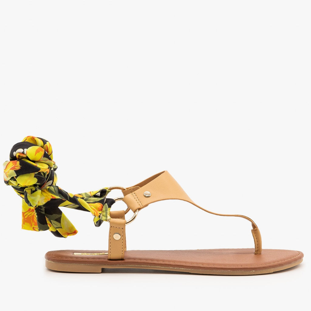 Womens Floral Tie-Up Sandals - Qupid Shoes - Tan / 5