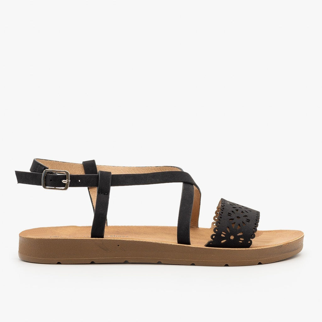 Womens Flower Cutout Strappy Sandals - Montecucco - Black / 5