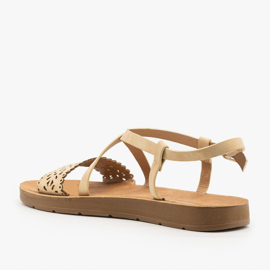 Womens Flower Cutout Strappy Sandals - Montecucco