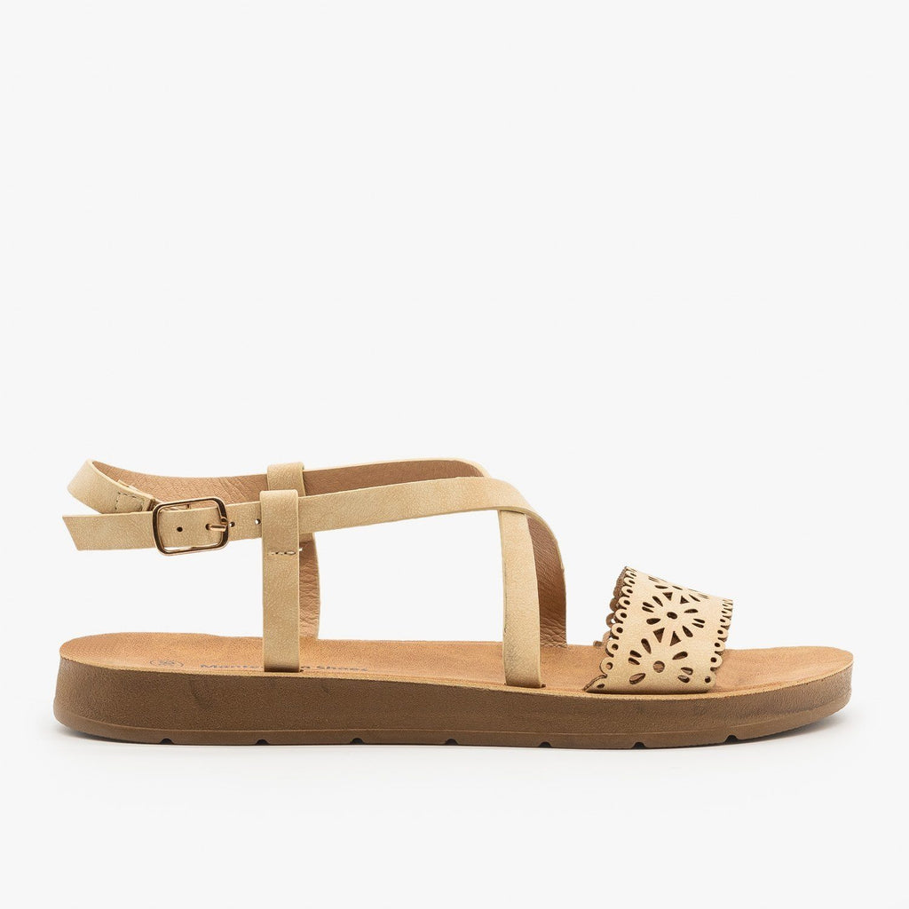 Womens Flower Cutout Strappy Sandals - Montecucco - Beige / 5