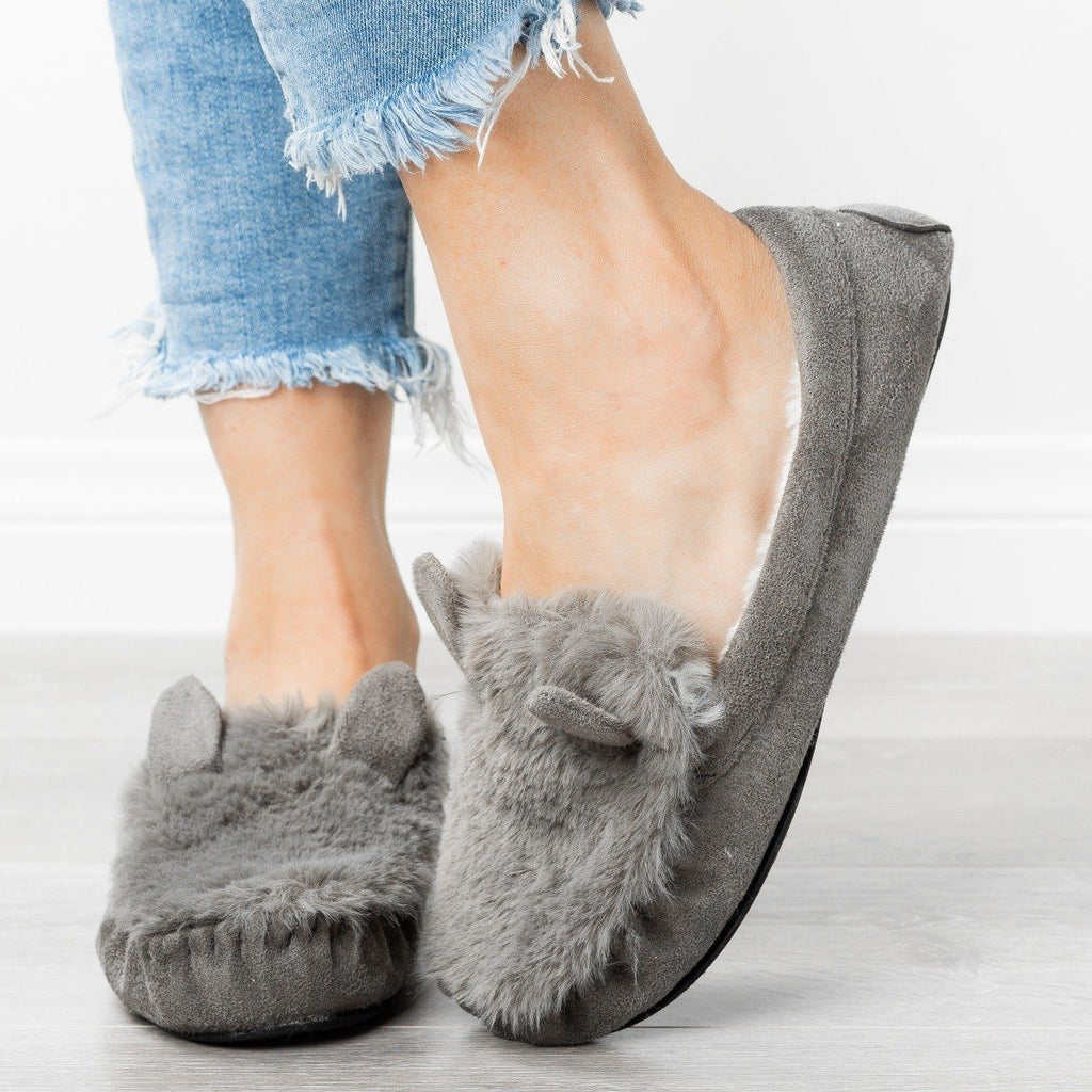 Womens Fluffy Bunny Ear Loafer Slippers - Refresh - Gray / 5