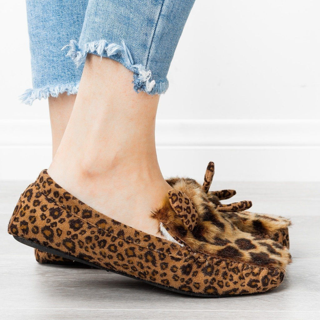 Womens Fluffy Bunny Ear Loafer Slippers - Refresh - Leopard / 5