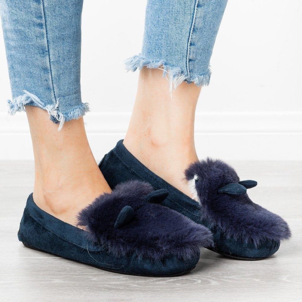 Womens Fluffy Bunny Ear Loafer Slippers - Refresh - Navy / 5