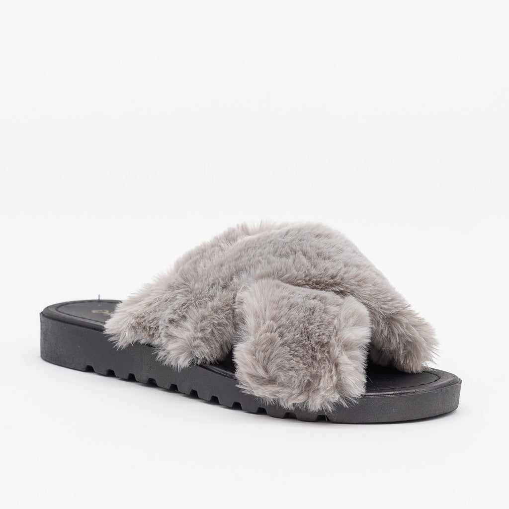 Womens Fluffy Criss Cross Slides - Qupid Shoes - Gray / 5
